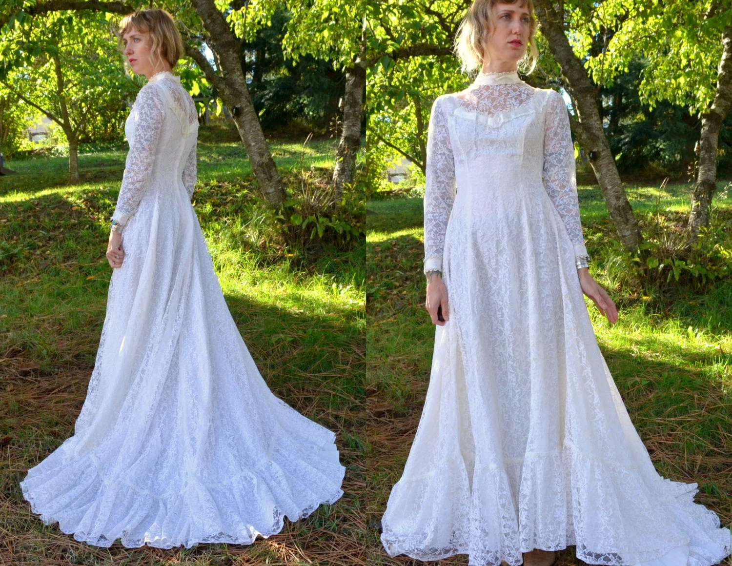 SALE 70s Wedding Dress Ivory Lace And Satin Long Train
