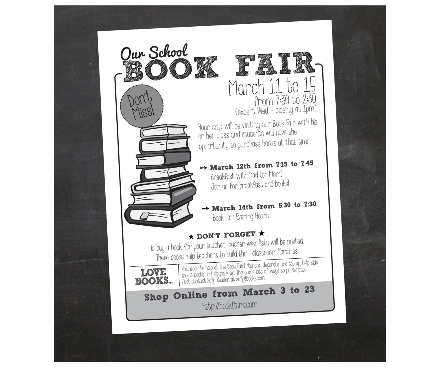 Custom Printable Book Fair School Flyer Pta Flyer
