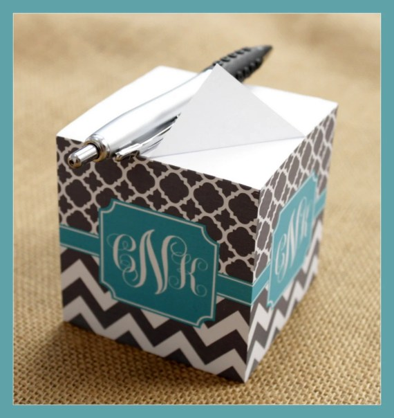 Handmade Back to School Supplies - Note Cubes with Sticky Adhesive 700 Sheets Personalized Monogrammed Back To School Teacher Graduation Desk Accessories Note Pad Office Gift from ChicMonogram