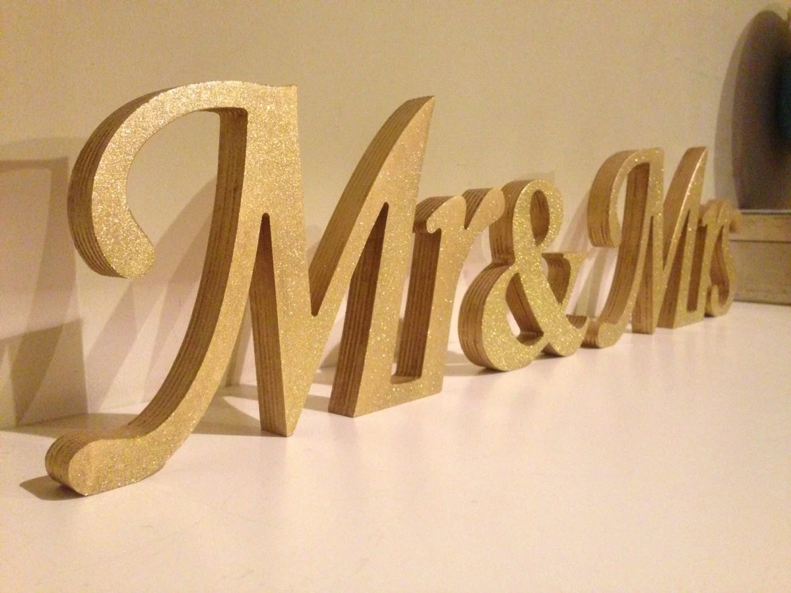 Gold Glitter Mr. & Mrs Freestanding Mr And Mrs Signs For