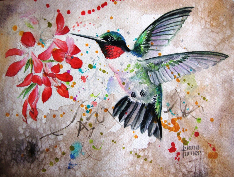 Ruby Throated Watercolor Hummingbird Original By