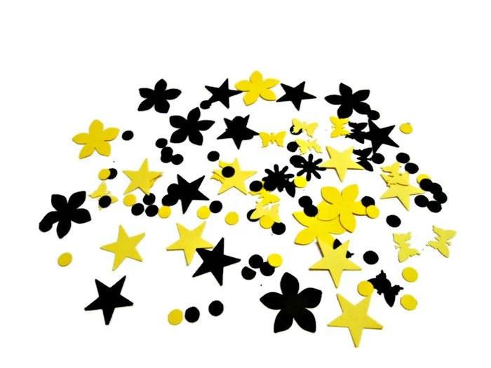 Table Confetti in Yellow and Black, Party Decoration, Table Confetti, Bumble Bee Party Confetti, Mixed Shape Confetti - PartyGarnish