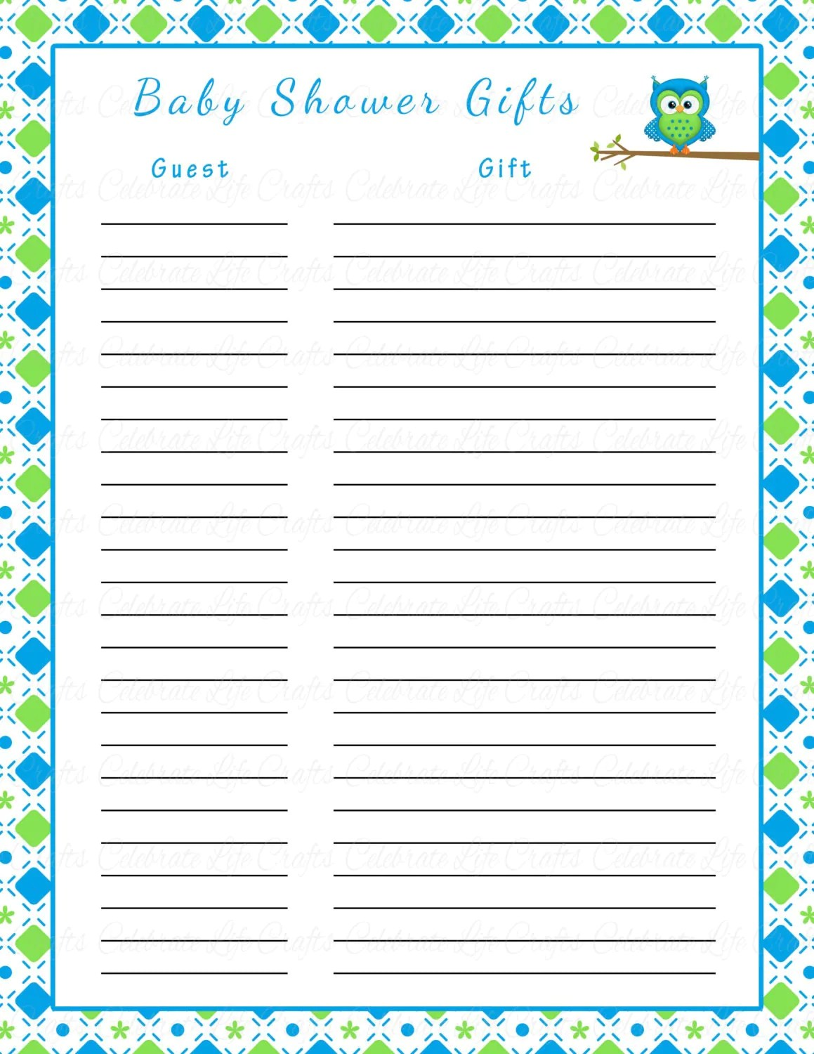 Baby Shower T List Printable Baby By Celebratelifecrafts