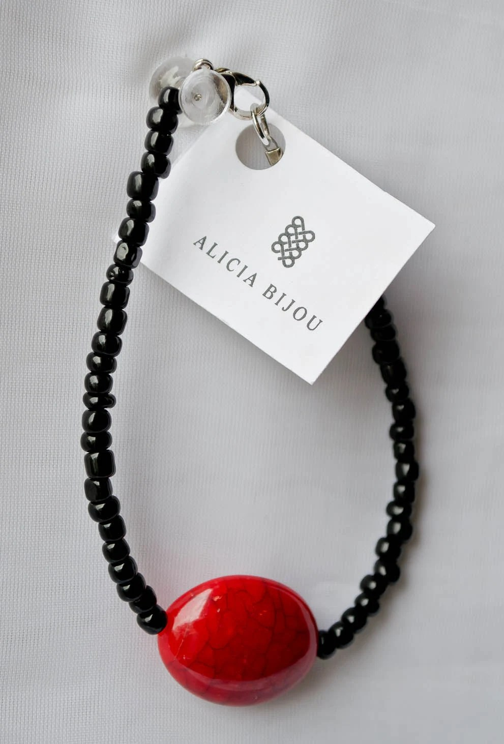 Black and Red Marble Bead Bracelet- SALE! - AliciaBijouCrafts