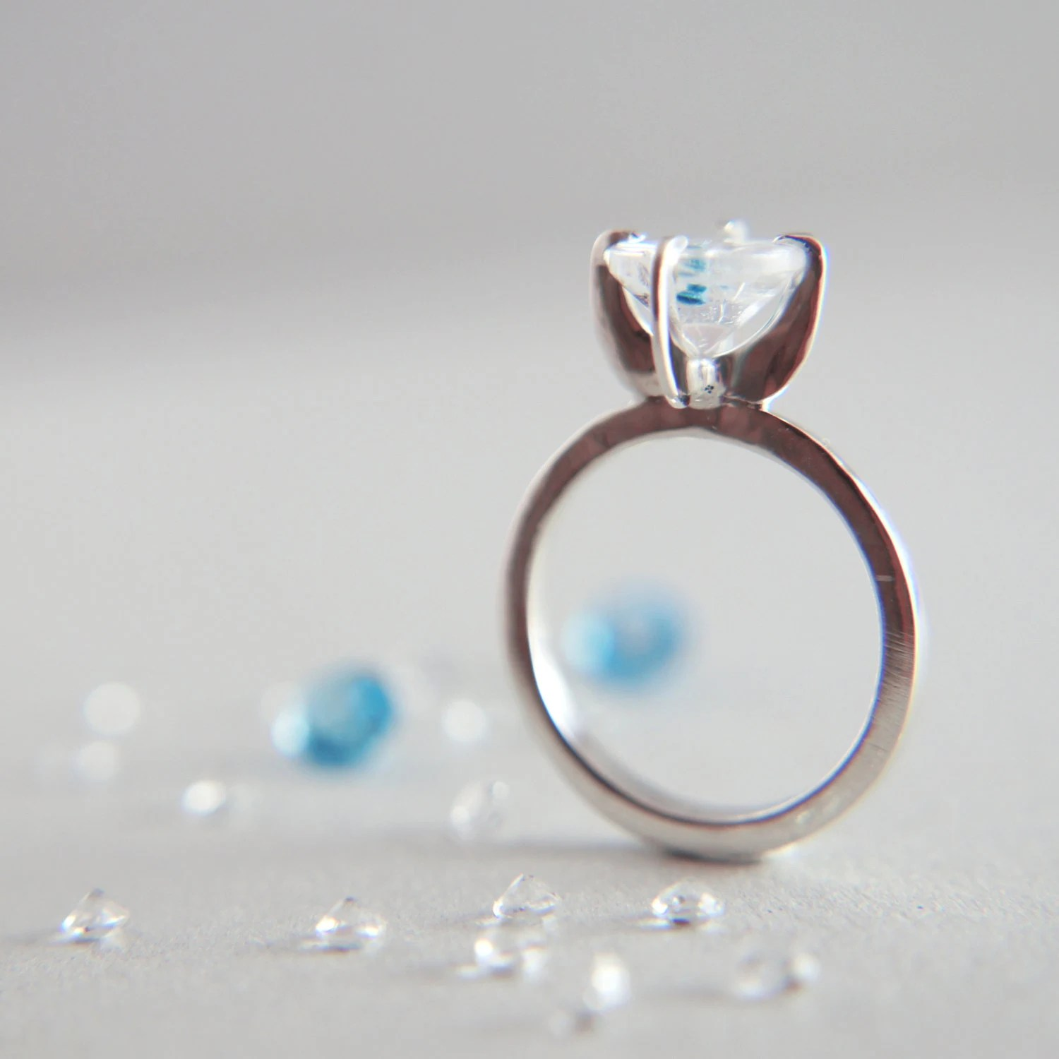 Engagement proposal ring with unusual rare gemstone quartz blue inclusions - sterling silver solitaire eco friendly fine jewelry OOAK - TheManerovs