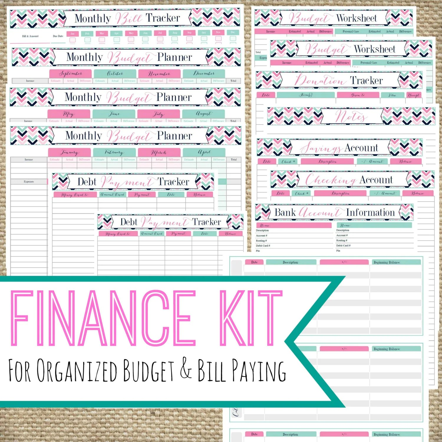 Printable Finance Kit Instant Download Bill Pay