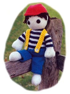 Knitted Toy Country Boy Doll Pattern 19 Inches 48.26cm Long Vintage Gift Stuffed Toy Knitting Cute Plush Amigurumi Baby Safe PDF Download