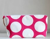 Fuchsia Polka Dots Wide Padded Zipper Pouch Gadget Case Cosmetics Bag - READY TO SHIP