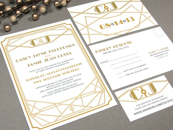 Gilded Roaring Twenties Gatsby Wedding Invitation Set by RunkPock Designs : Art Deco Industrial Wedding Suite shown in yellow gold and brown