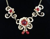 Unique Gold Tone Ruby Red...