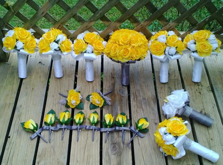 Yellow Rose Bouquet 17 Piece Wedding Package Yellow Bouquet