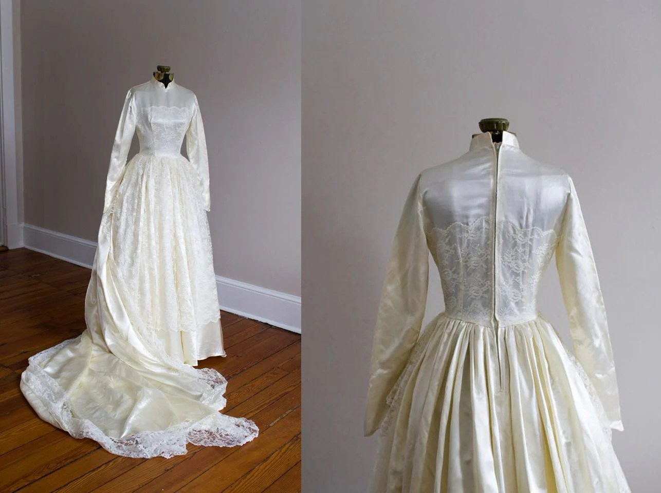 1950's Grace Kelly Inspired Satin And Lace Wedding Gown