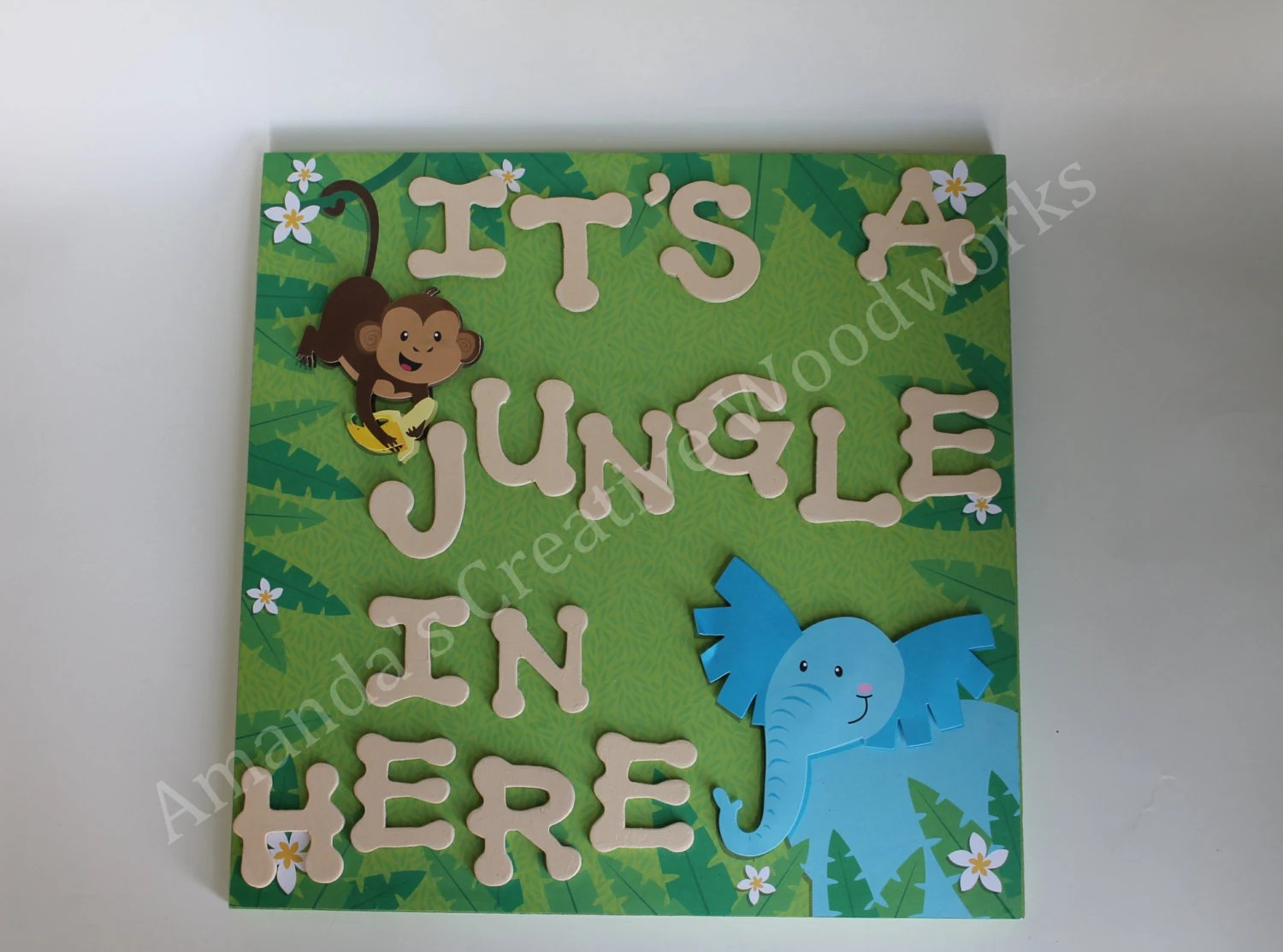 Jungle Theme Kids Room Sign Preschool Sign By Amandaswoodworks