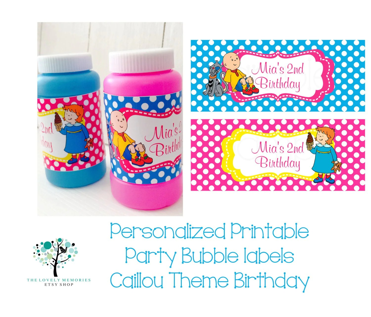 Personalized Printable Party Bubble Labels Caillou Theme