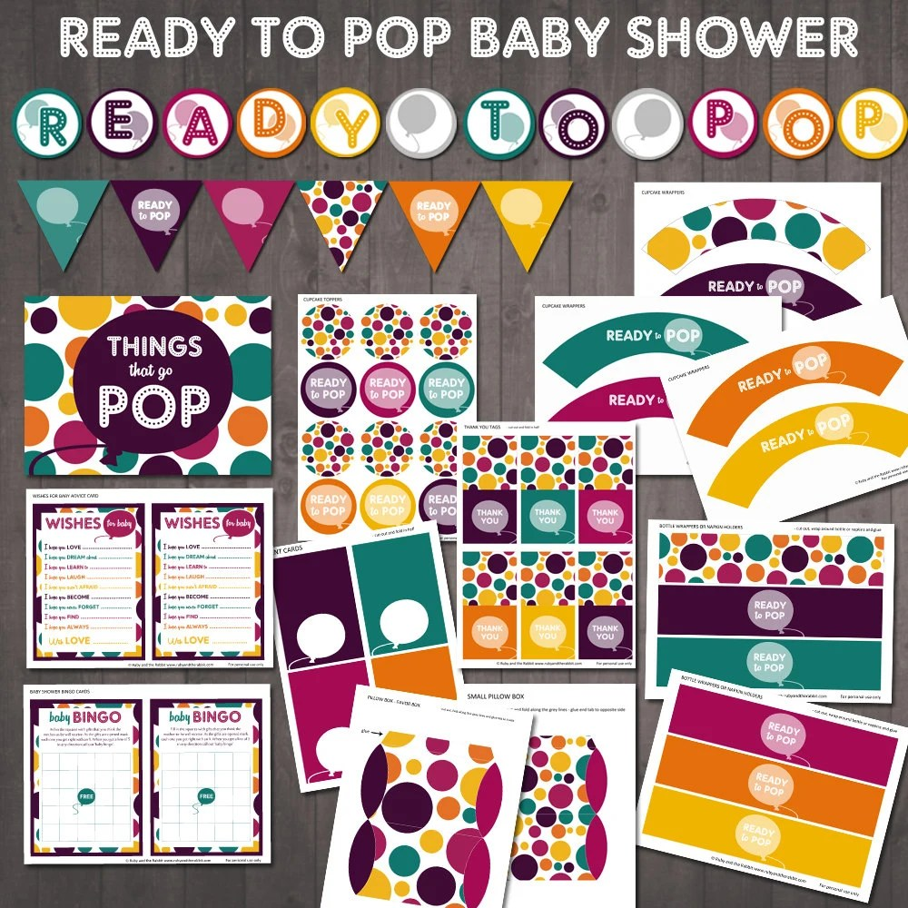 READY TO POP baby shower printable party set