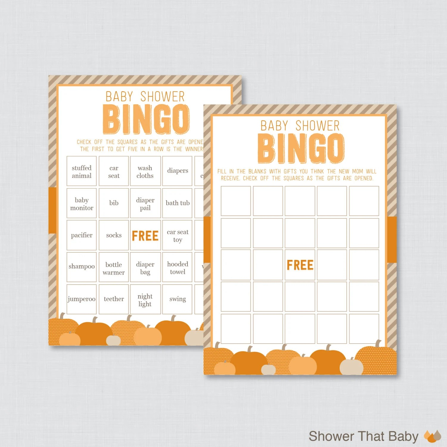 Little Pumpkin Baby Shower Bingo Cards Printable Prefilled