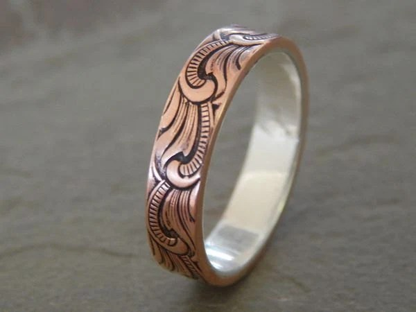 PAISLEY Silver Amp Copper 5mm Mens Wedding Ring