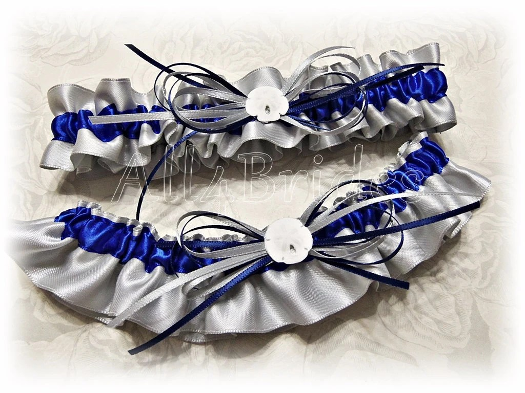 Sand Dollar Wedding Leg Garter Set In Navy Blue And Grey