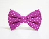 Dog Bow Tie- Fuchsia Polka Dot Bow Tie- More options available- dog collar accessory