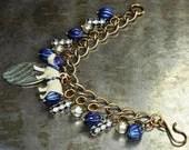Vintage Bulldog Charm Bracelet with Antique Dog Tag - Vintage Assemblage