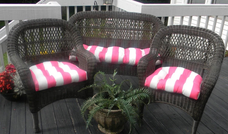 Wicker Cushion 3 Pc Set Preppy Pink & White Stripe Indoor