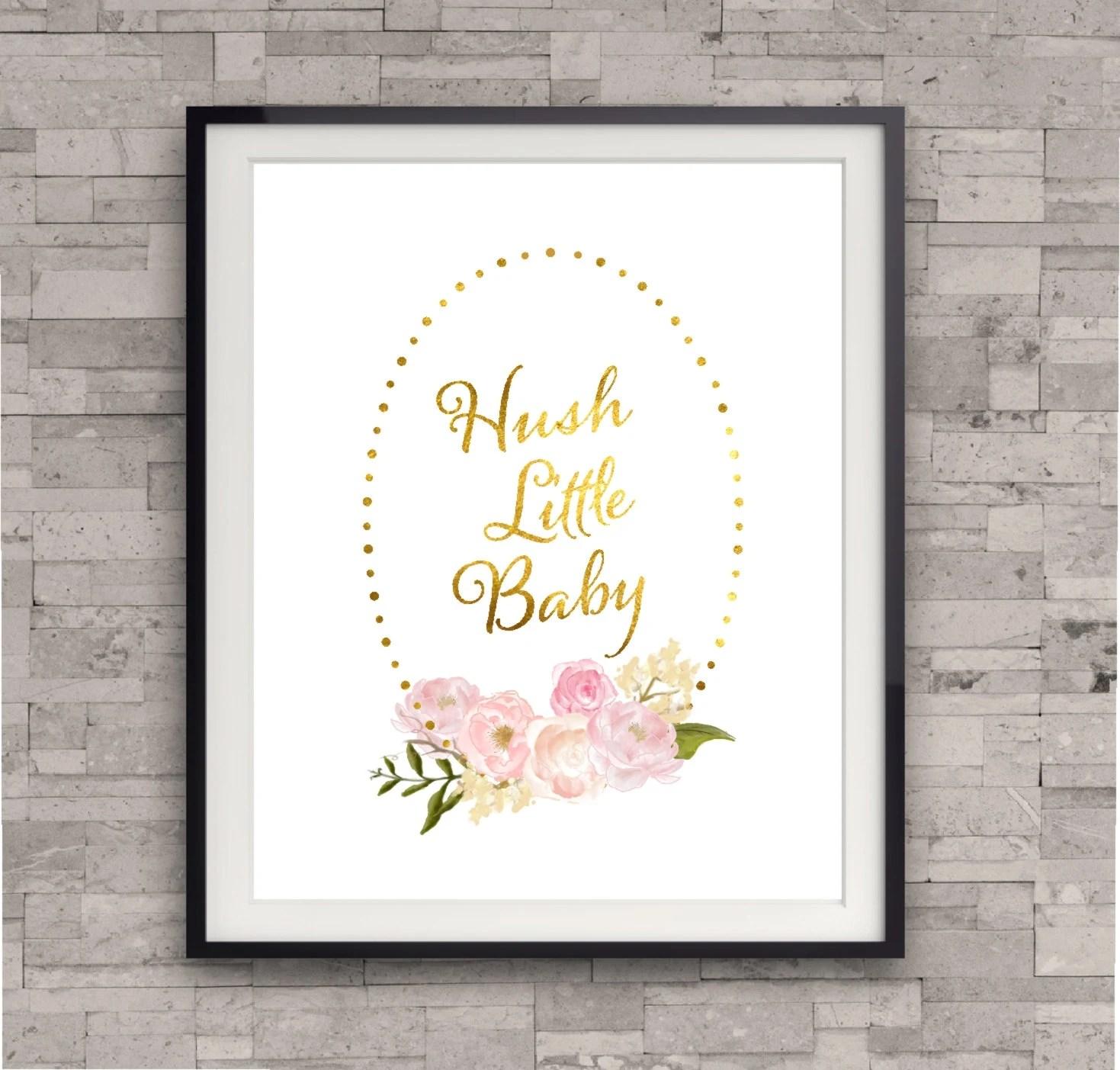 Gold Nursery Decor Hush Little Baby Lullaby Art Print