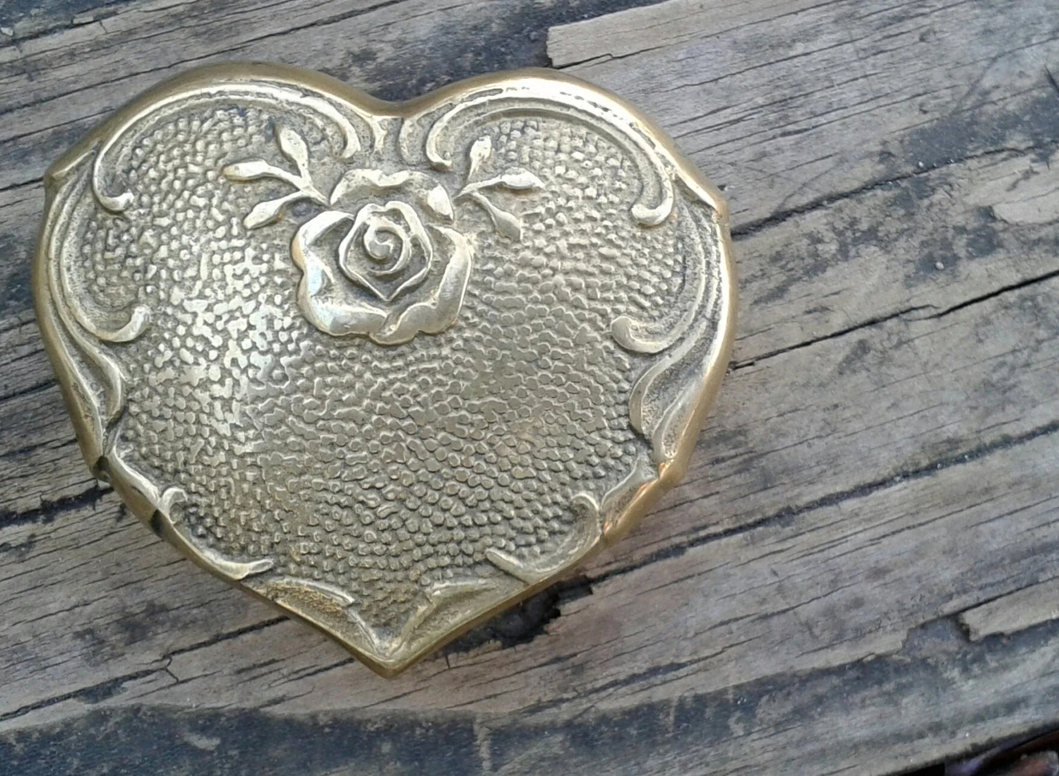 Vintage Brass Heart Trinket Box