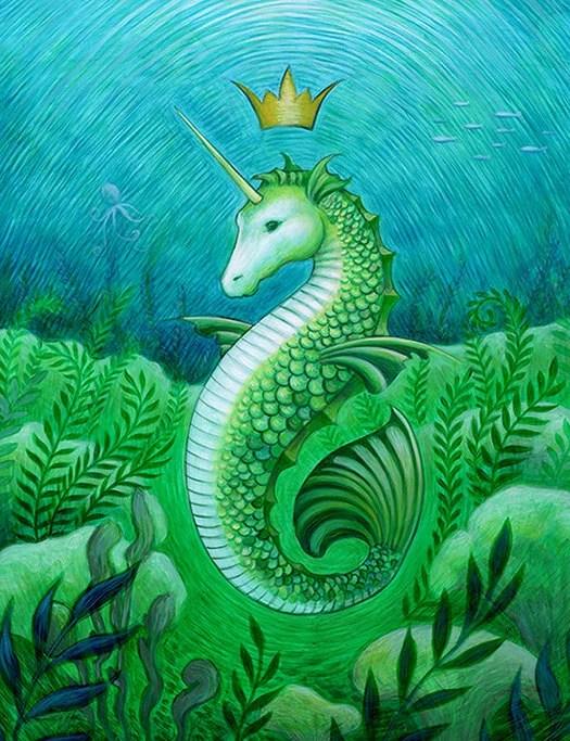 Seahorse Unicorn Mermaid Ocean Seascape Art Print Bathroom