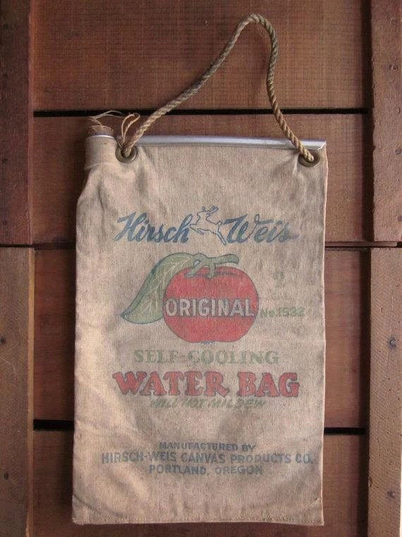 Vintage Hirsch Weis Canvas Water Bag Complete With Rope And