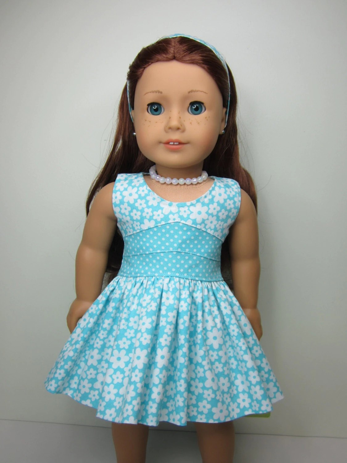 American Girl Doll Clothes Aqua And White Flowered