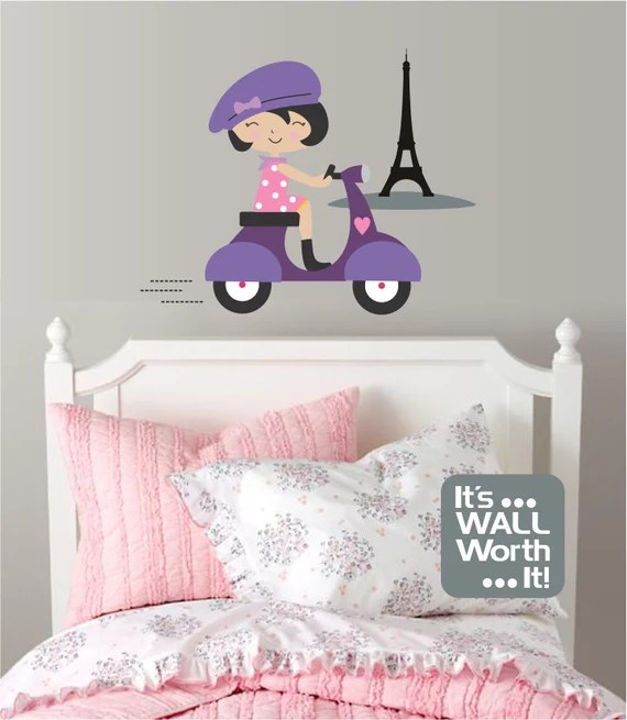 French Girl on Scooter Wall Decal by ItsWallWorthIt