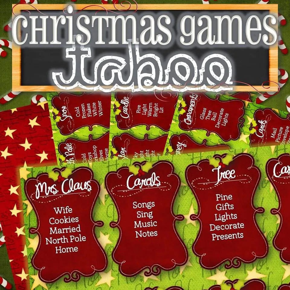 Christmas Taboo Card Game INSTANT DOWNLOAD
