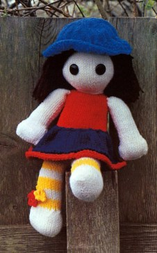 Knitted Toy Country Girl Doll Pattern 19.5 Inches 48.26cm Long Vintage Gift Stuffed Toy Knitting Cute Plush Amigurumi Baby Safe PDF Download