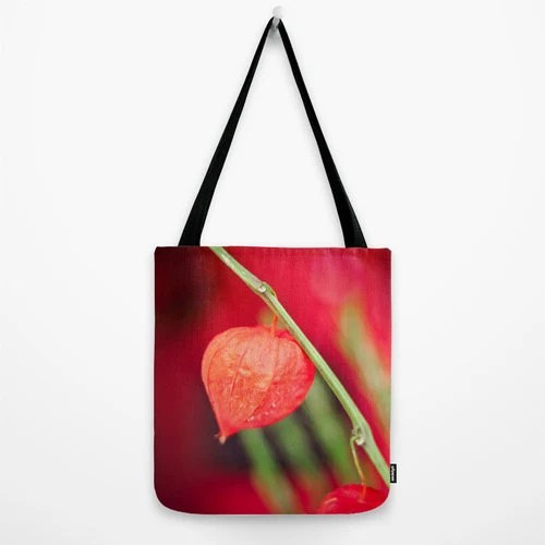 Canvas tote bag red flower Botanical nature, flowers floral, spring cotton canvas messenger red totebag - BasicDesign