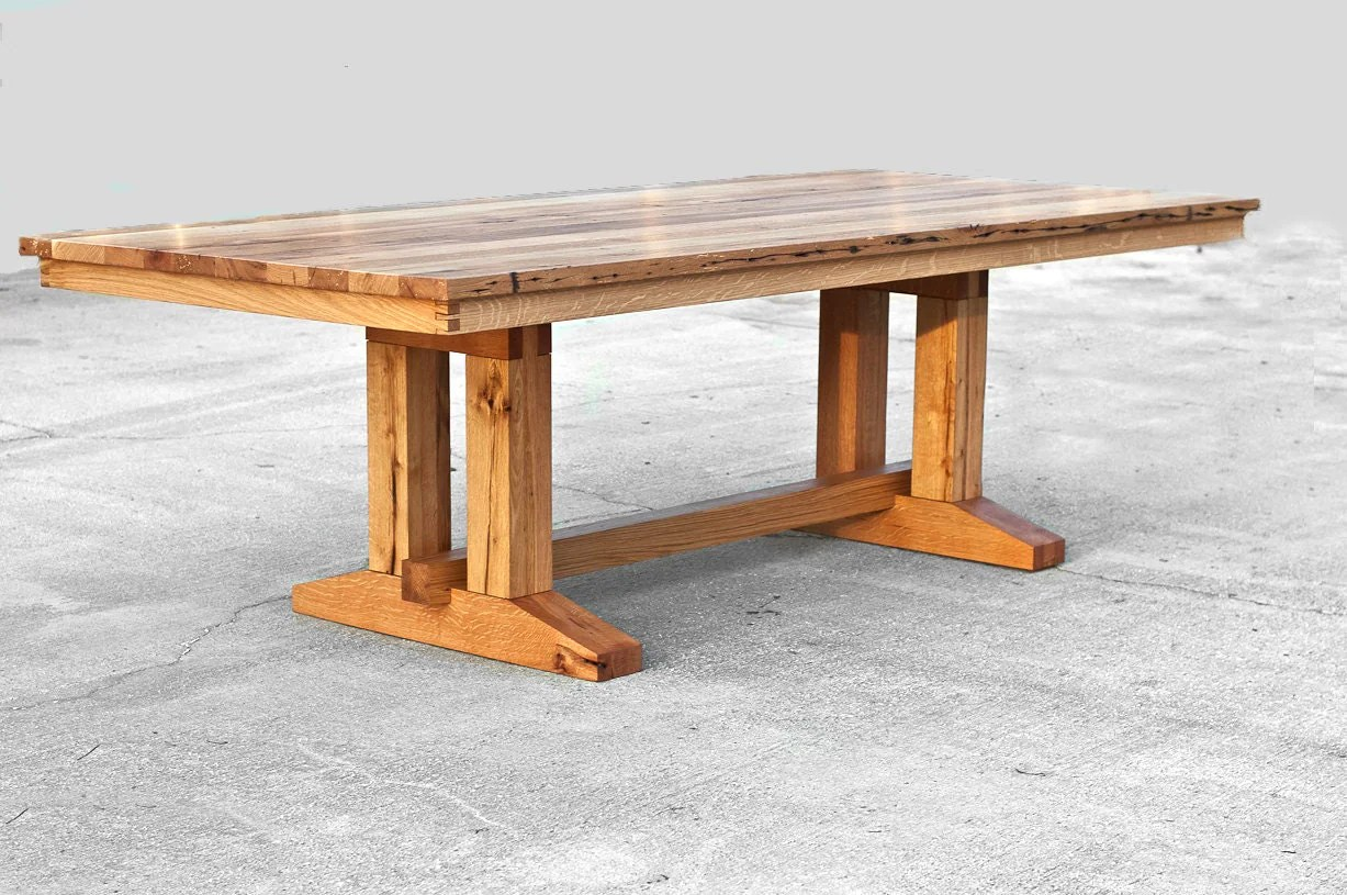 Barnwood Trestle Dining Table Reclaimed Wood Dining Table