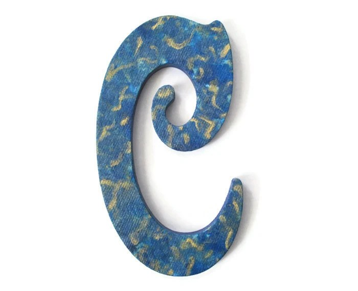 "Victorian Letter C hand painted in blue and metallic gold, 10"" wooden wall letter, ready to ship decorative letter - FischerFineArts"