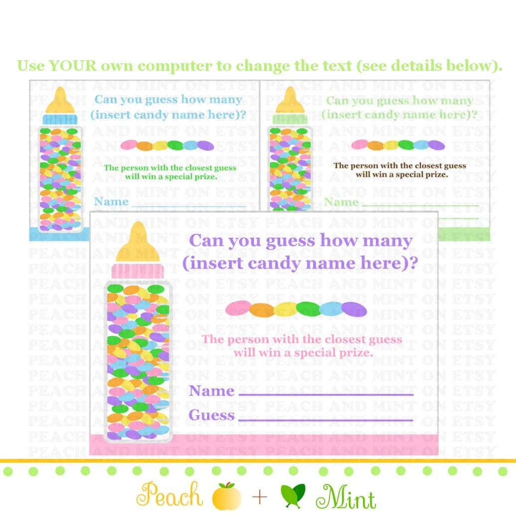 Printable Candy Guessing Game Printable Baby Shower Games