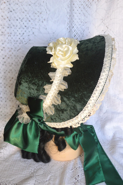 Beautiful Crushed Velvet Dark Green Victorian Bonnet