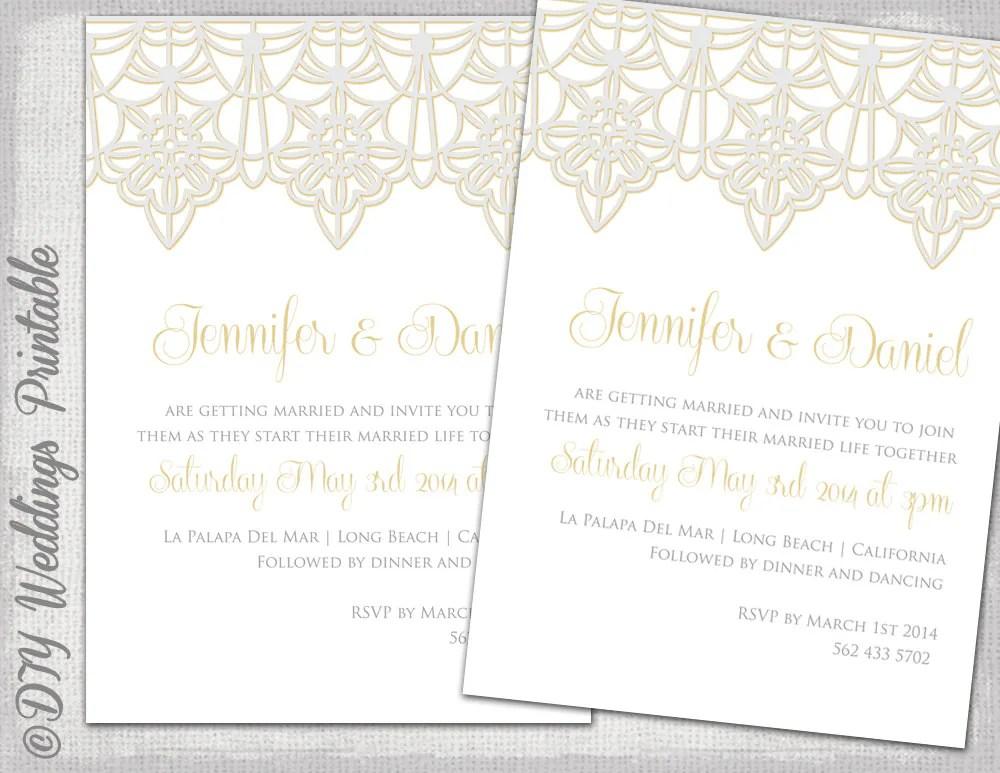 Wedding Invitation Template Lace Trim Silver