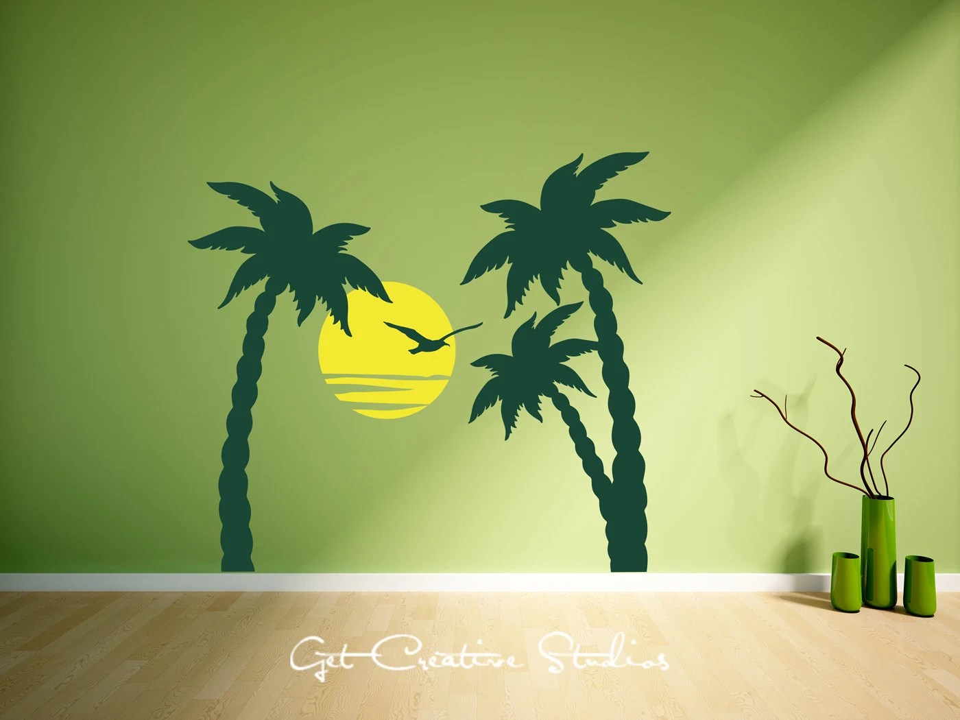Palm Tree Decal Trees Wall Home Decor Sunset Seagull Ocean