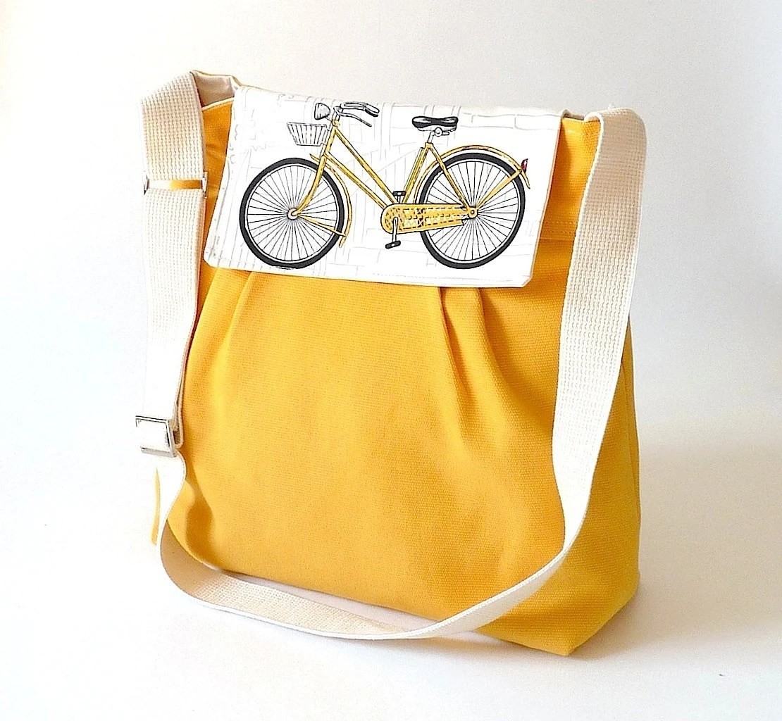 READY TO SHIP // Yellow  Diaper bag / Messenger bag / Travel bag /Shoulder Bag with Bike flap - 10 pockets - ikabags
