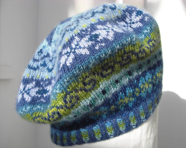 Fairisle beret handknitted in 100 per cent wool - SloweTams