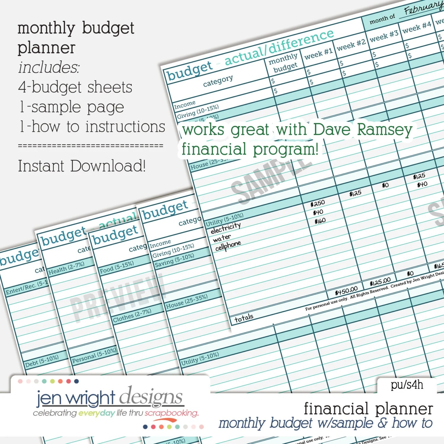 Monthly Budget Financial Planner Printable Worksheet