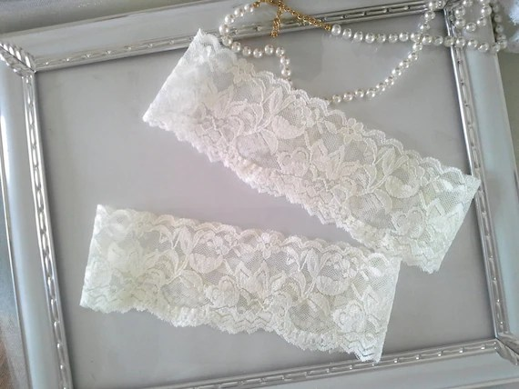 SALE Plain Wedding Garter Set Ivory Bridal Garter Lace By
