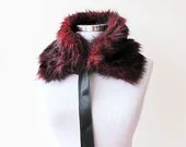 Fur collar, Red and Black, Polyester faux fur, Women Accessories, Winter, Christmas Gift - aynurdereli