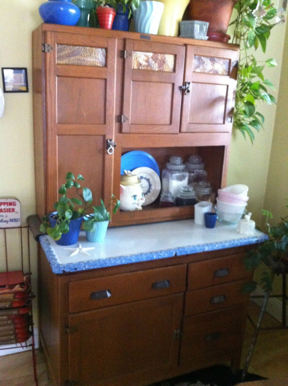 Wilson Hoosier Cabinet With Original Finish And Slag Glass