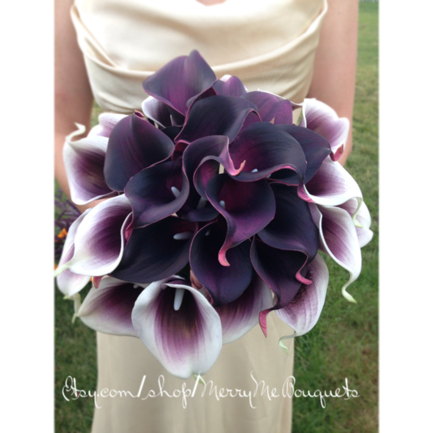 Purple And White Bouquet Calla Lily Bridal By MerryMeBouquets