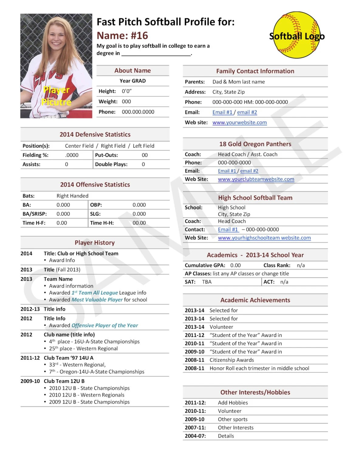 fast pitch softball player profile template used for college