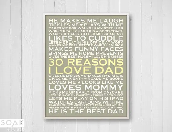 Download 30 Reasons I Love Dad Personalized Gift for Dad 8x10