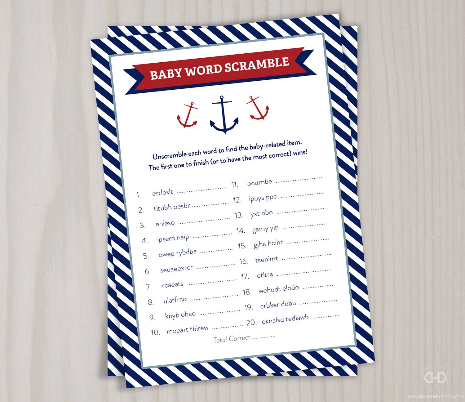 Baby Word Scramble Red Little Boy Nautical Baby Shower Game